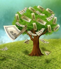 Rysunek przedstawiający dolary rosnące na drzewie