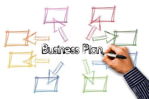 mężczyzna przygotowuje biznes plan