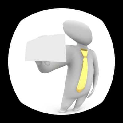 Rysunek przedstawiający komornika z wizytówką, który dzwoni do drzwi