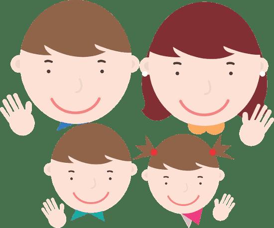 Rysunek przedstawiający czteroosobową rodzinę